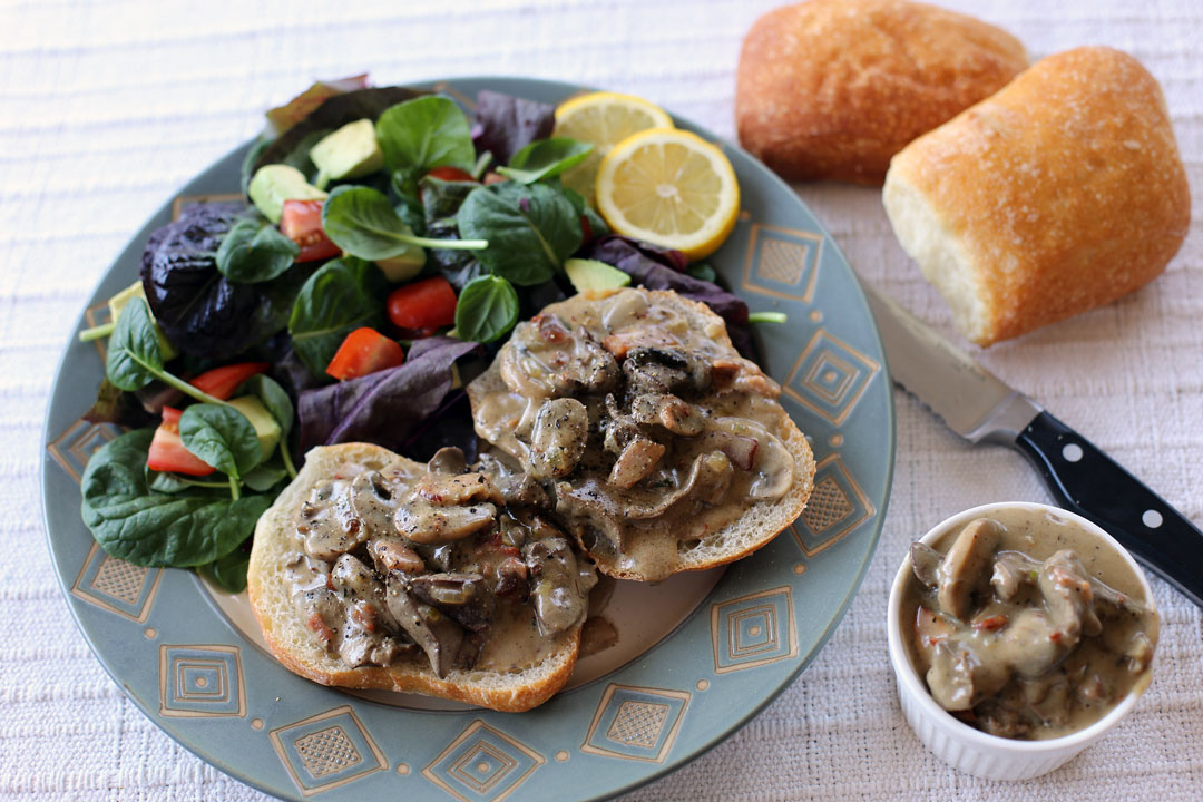 Creamy Mushroom, Chicken Livers and Pancetta in Ciabatta - Ang Sarap